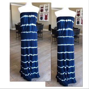 YFB Blue Tube Striped Maxi Dress